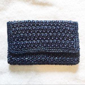 3/$25 Vintage 60s straw beaded clutch navy blue